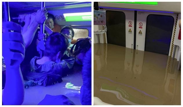 Pasajeros quedaron con el agua al cuello, en el metro de China
